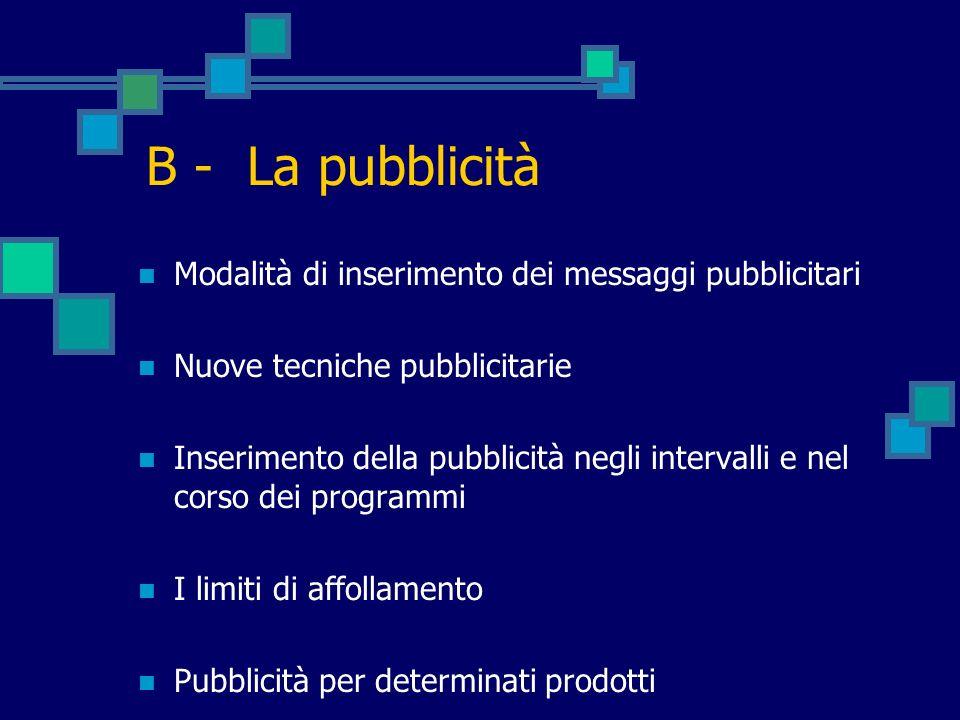 B - La pubblicità Modalità di inserimento dei messaggi pubblicitari