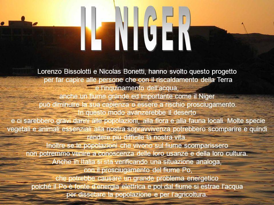 IL NIGER Lorenzo Bissolotti e Nicolas Bonetti, hanno svolto questo progetto. per far capire alle persone che con il riscaldamento della Terra.