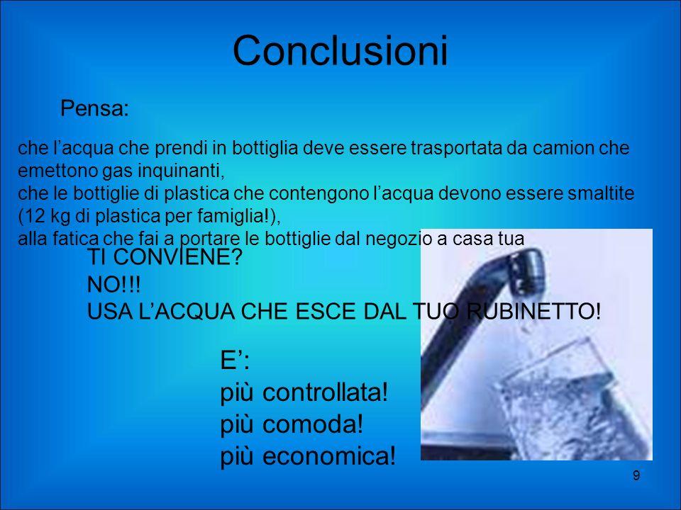 Conclusioni E': più controllata! più comoda! più economica! Pensa: