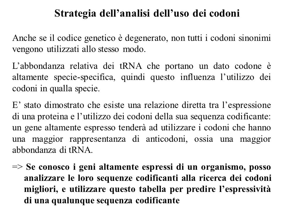 Strategia dell'analisi dell'uso dei codoni