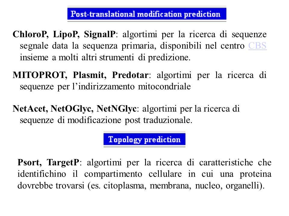 ChloroP, LipoP, SignalP: algortimi per la ricerca di sequenze segnale data la sequenza primaria, disponibili nel centro CBS insieme a molti altri strumenti di predizione.