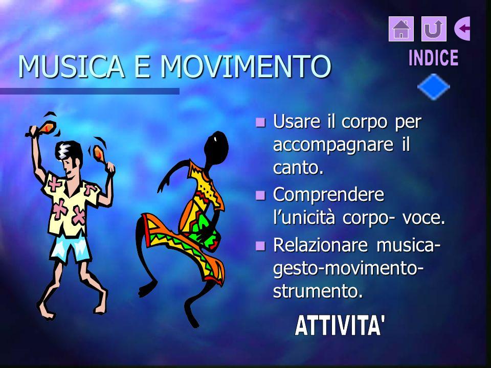 MUSICA E MOVIMENTO Usare il corpo per accompagnare il canto.