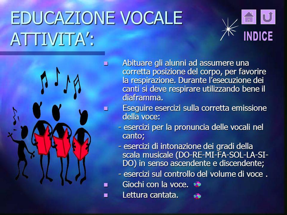 EDUCAZIONE VOCALE ATTIVITA':