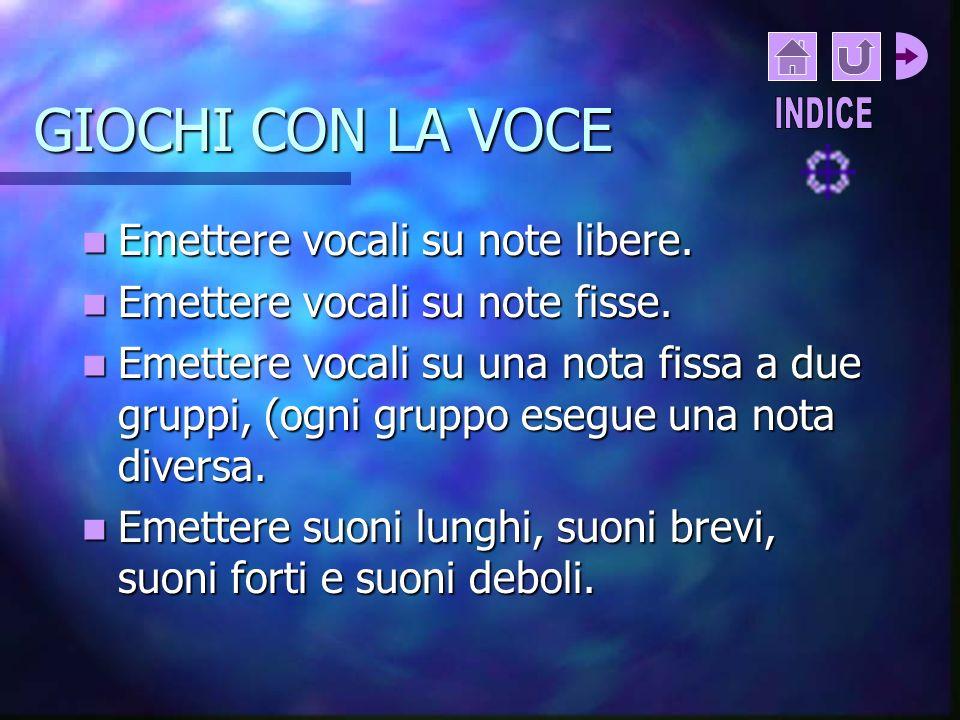 GIOCHI CON LA VOCE Emettere vocali su note libere.