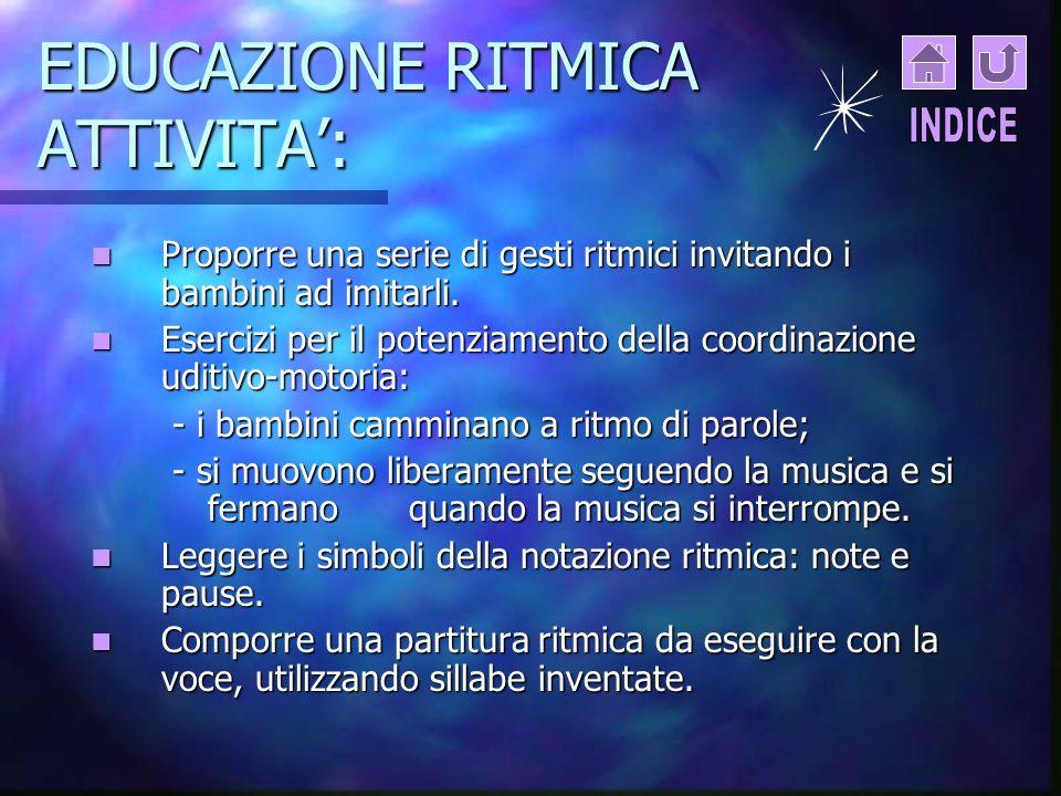 EDUCAZIONE RITMICA ATTIVITA':