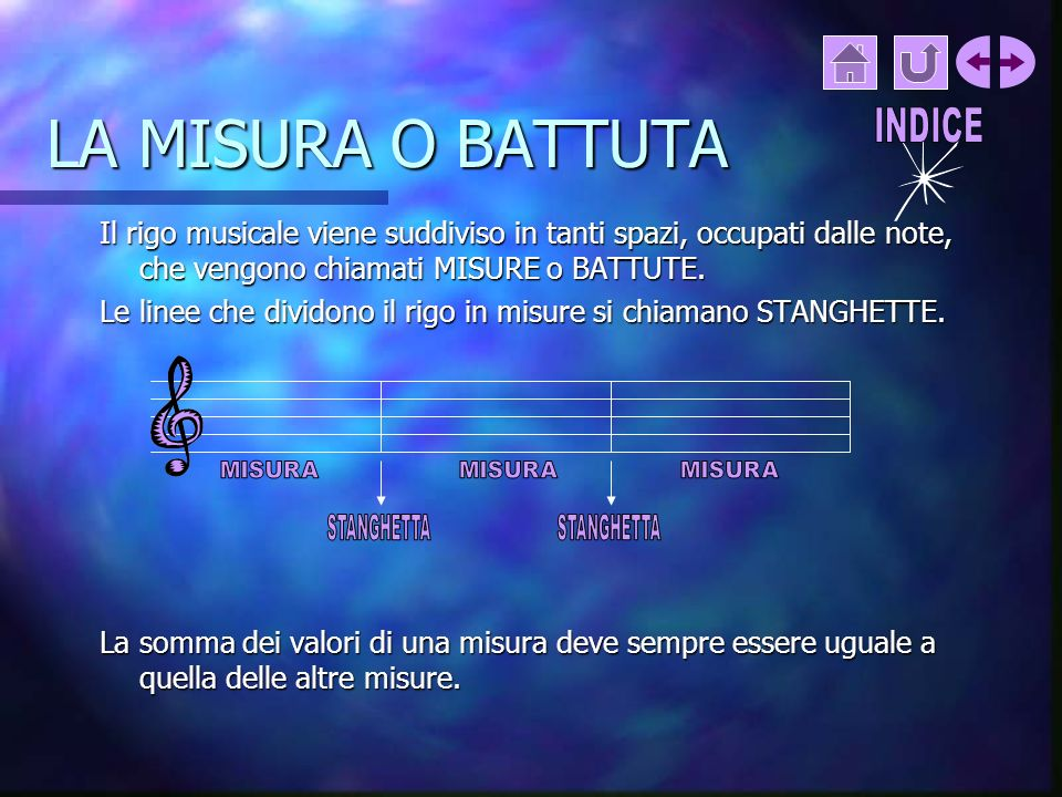 LA MISURA O BATTUTA INDICE. Il rigo musicale viene suddiviso in tanti spazi, occupati dalle note, che vengono chiamati MISURE o BATTUTE.