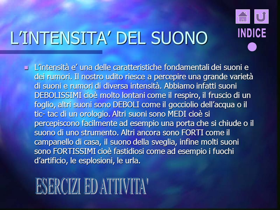 L'INTENSITA' DEL SUONO