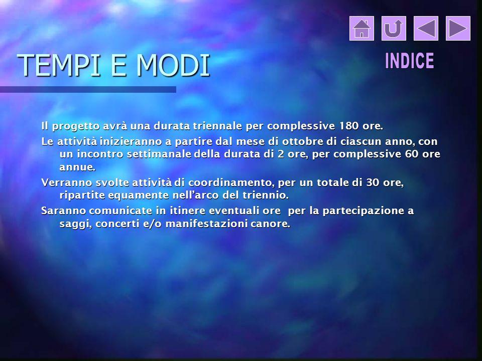 TEMPI E MODI INDICE. Il progetto avrà una durata triennale per complessive 180 ore.