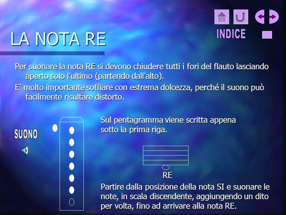 LA NOTA RE INDICE. Per suonare la nota RE si devono chiudere tutti i fori del flauto lasciando aperto solo l'ultimo (partendo dall'alto).