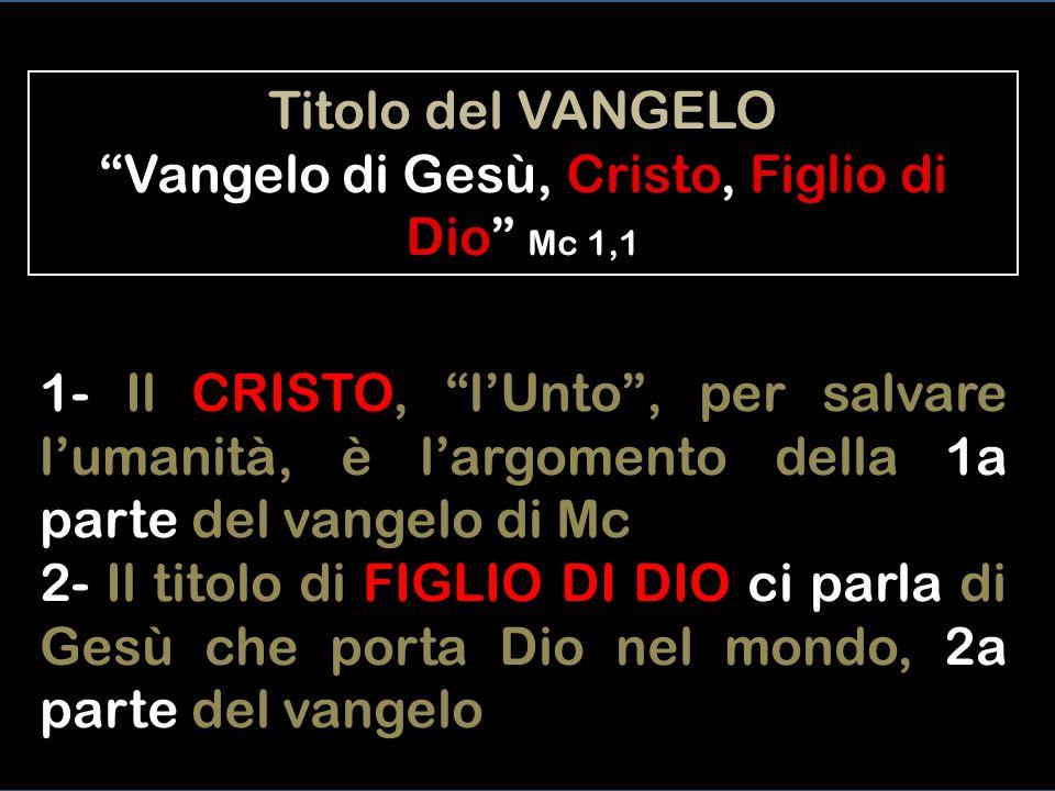 Titolo del VANGELO Vangelo di Gesù, Cristo, Figlio di Dio Mc 1,1
