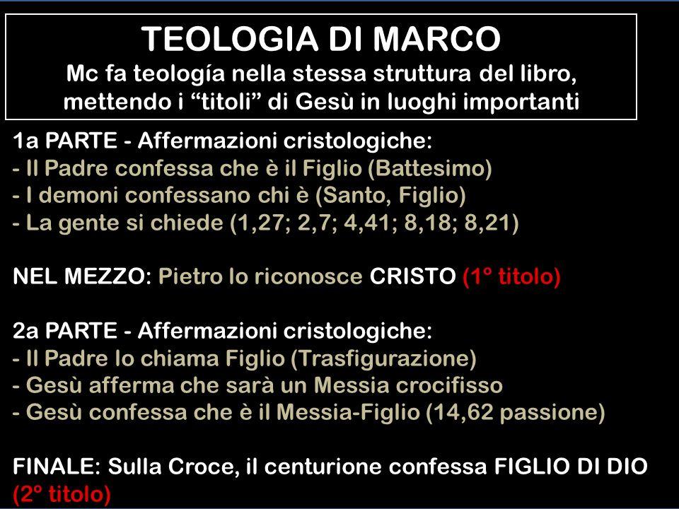 TEOLOGIA DI MARCO Mc fa teología nella stessa struttura del libro, mettendo i titoli di Gesù in luoghi importanti