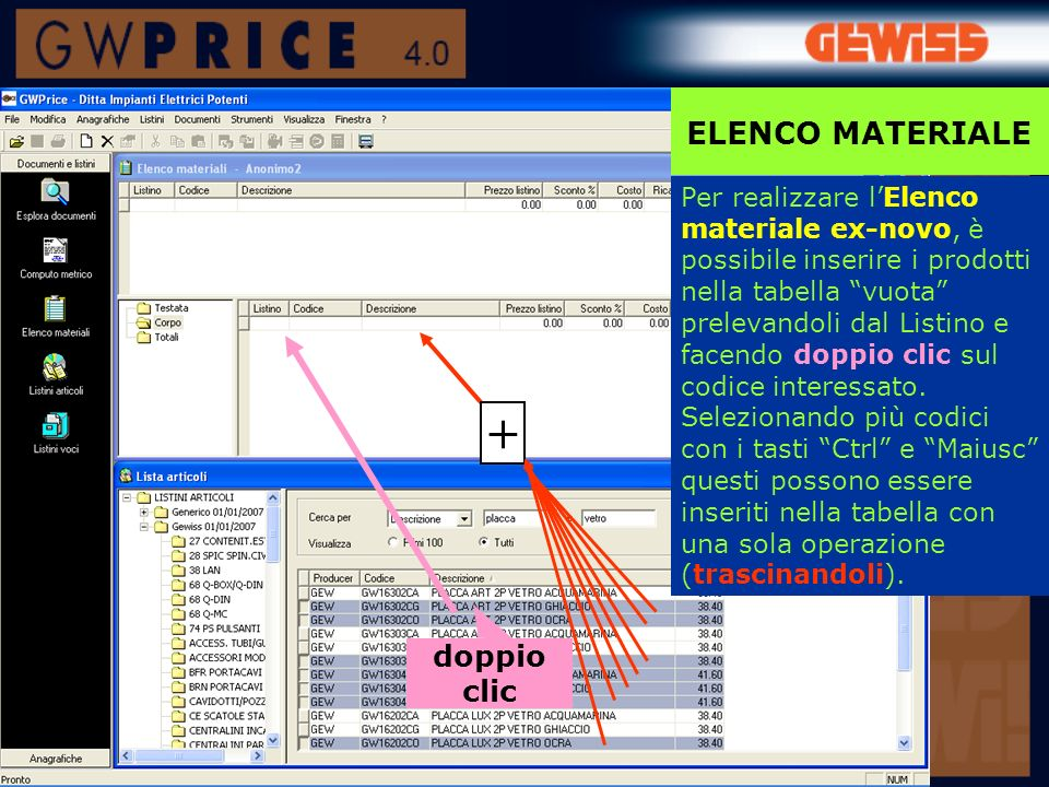 + ELENCO MATERIALE doppio clic