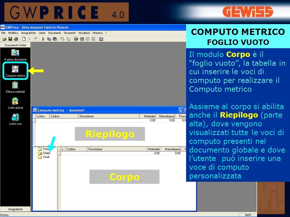 Riepilogo Corpo COMPUTO METRICO FOGLIO VUOTO