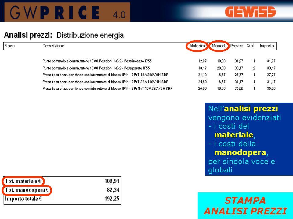 STAMPA ANALISI PREZZI Nell'analisi prezzi vengono evidenziati
