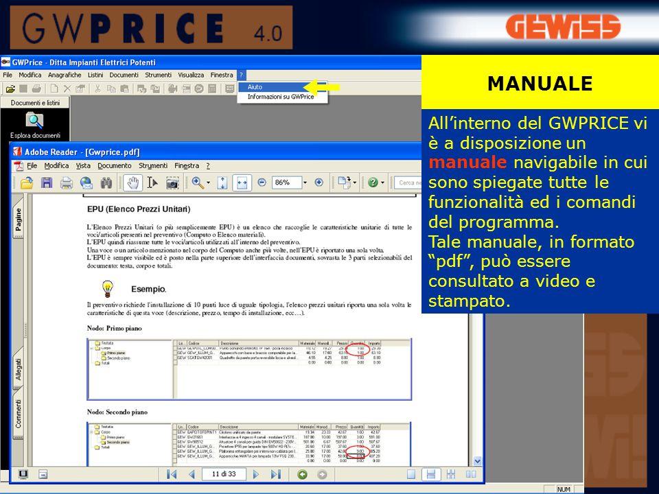 MANUALE All'interno del GWPRICE vi è a disposizione un manuale navigabile in cui sono spiegate tutte le funzionalità ed i comandi del programma.