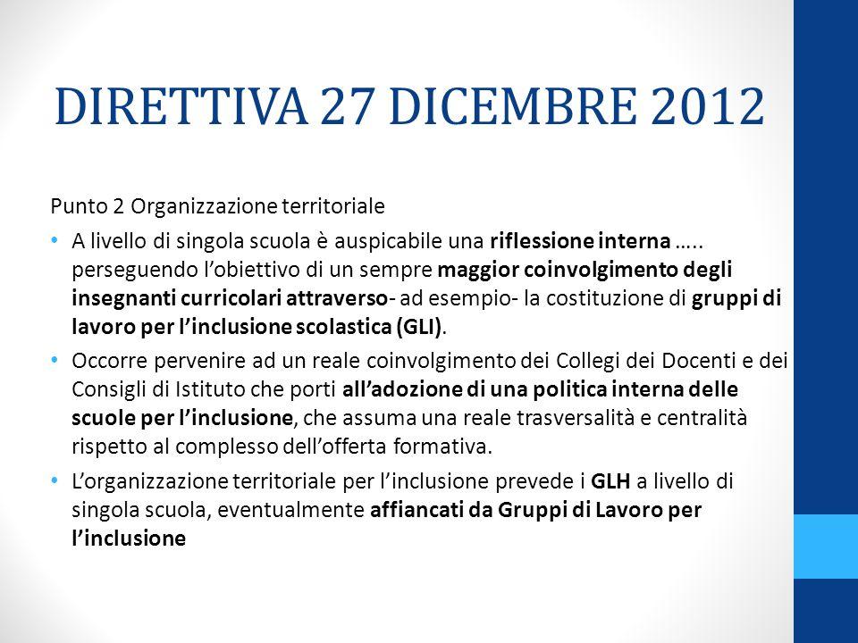DIRETTIVA 27 DICEMBRE 2012 Punto 2 Organizzazione territoriale