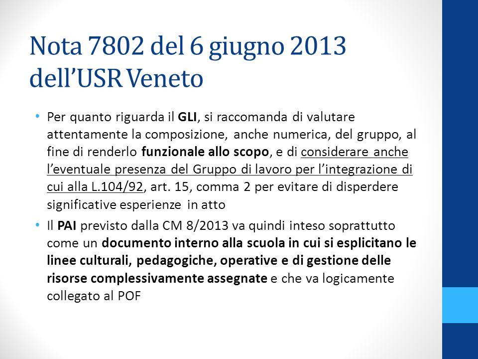 Nota 7802 del 6 giugno 2013 dell'USR Veneto