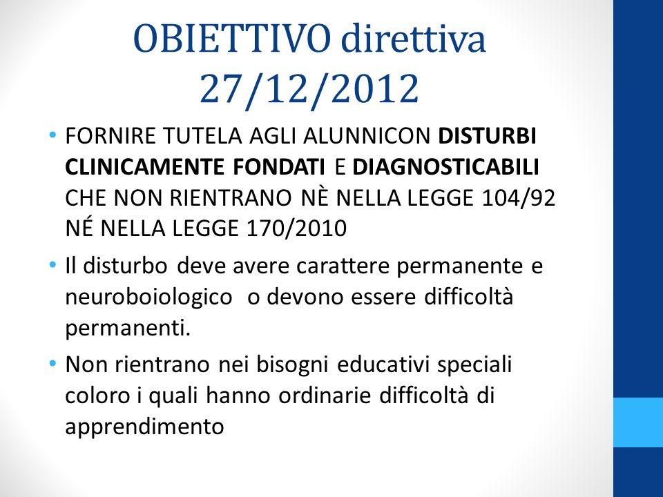OBIETTIVO direttiva 27/12/2012
