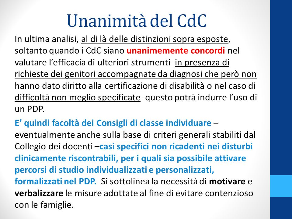 Unanimità del CdC