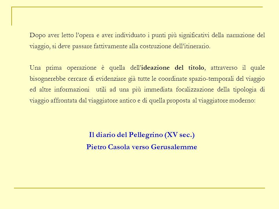Il diario del Pellegrino (XV sec.) Pietro Casola verso Gerusalemme