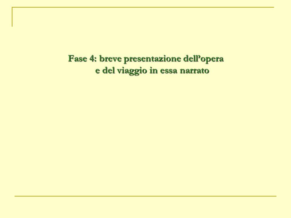 Fase 4: breve presentazione dell'opera e del viaggio in essa narrato