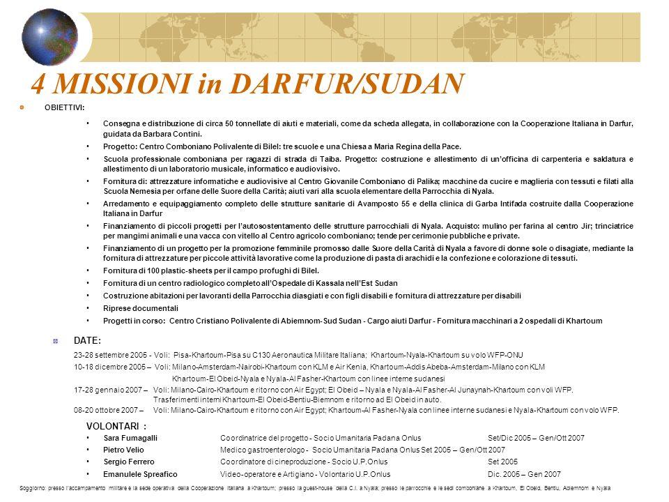 4 MISSIONI in DARFUR/SUDAN