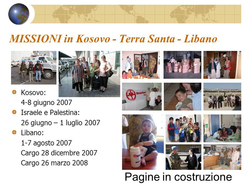 MISSIONI in Kosovo - Terra Santa - Libano