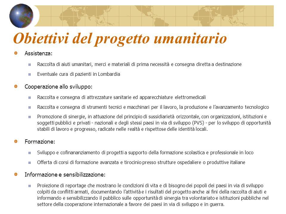 Obiettivi del progetto umanitario