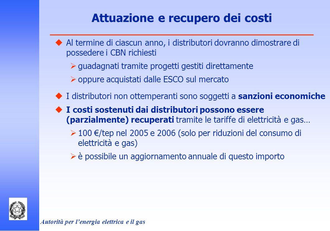 Attuazione e recupero dei costi