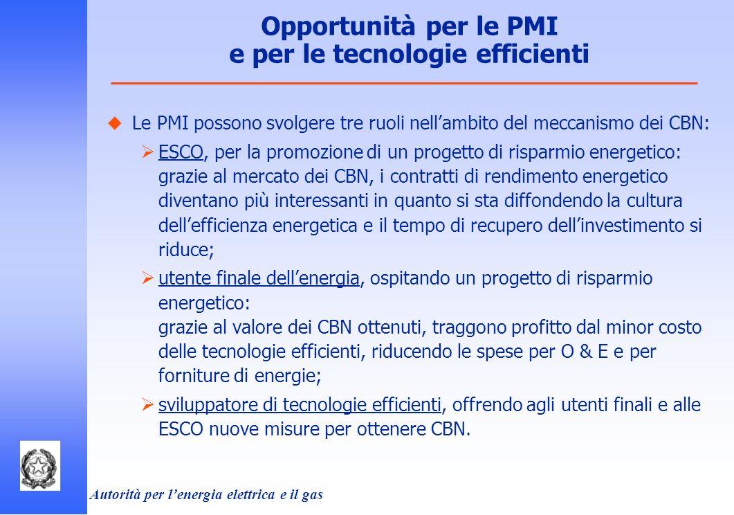 Opportunità per le PMI e per le tecnologie efficienti