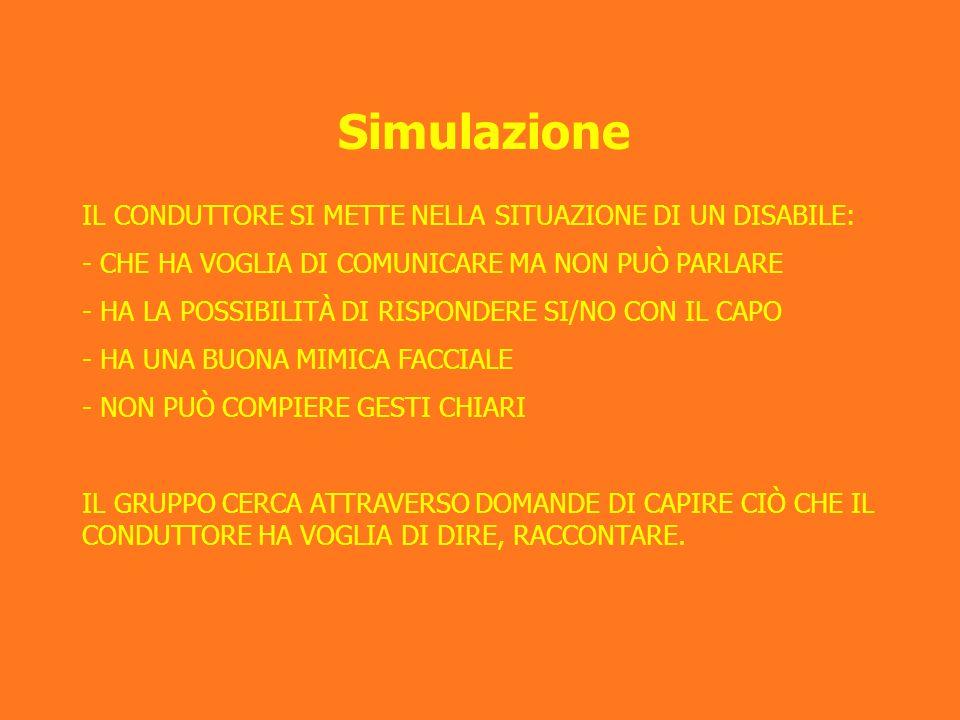 Simulazione IL CONDUTTORE SI METTE NELLA SITUAZIONE DI UN DISABILE: