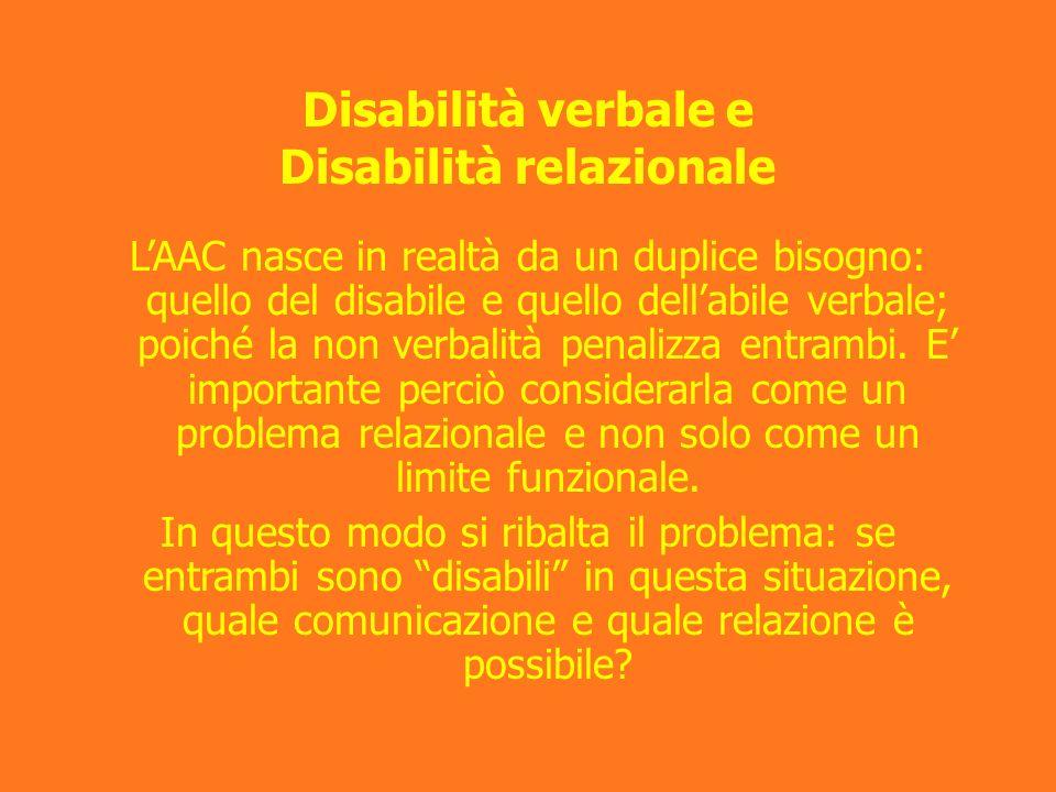 Disabilità verbale e Disabilità relazionale