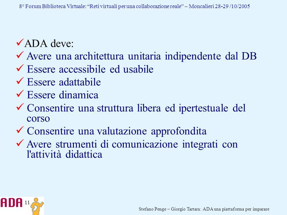 ADA deve: Avere una architettura unitaria indipendente dal DB. Essere accessibile ed usabile. Essere adattabile.