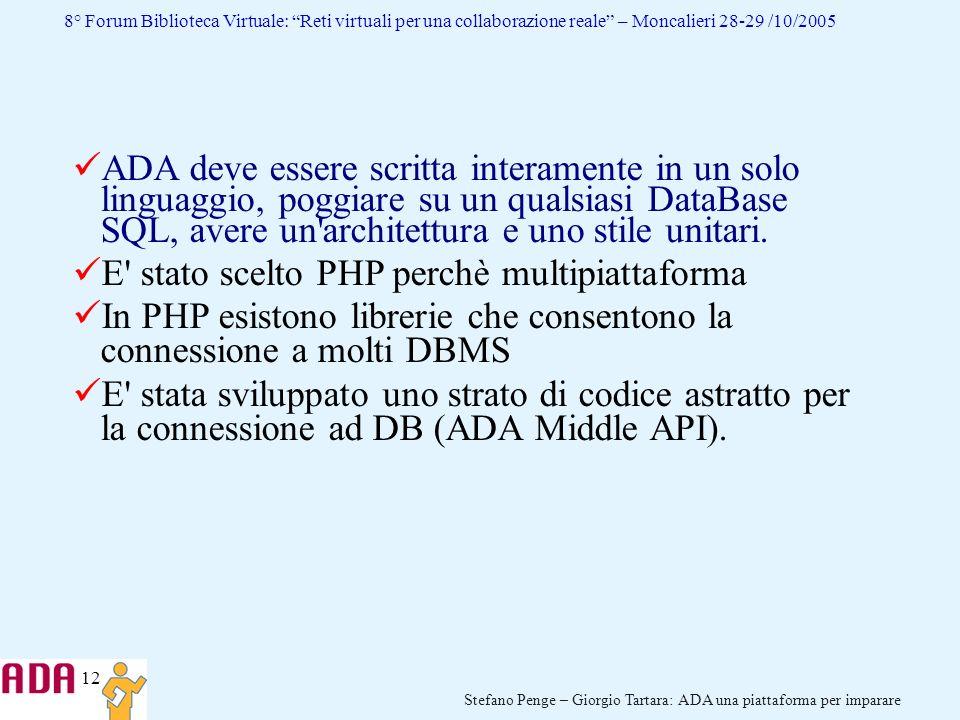 ADA deve essere scritta interamente in un solo linguaggio, poggiare su un qualsiasi DataBase SQL, avere un architettura e uno stile unitari.