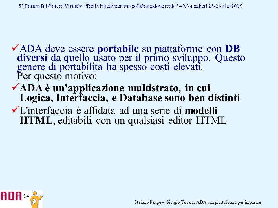 ADA deve essere portabile su piattaforme con DB diversi da quello usato per il primo sviluppo. Questo genere di portabilità ha spesso costi elevati. Per questo motivo: