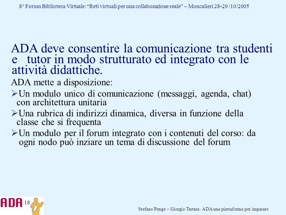 ADA deve consentire la comunicazione tra studenti e tutor in modo strutturato ed integrato con le attività didattiche.