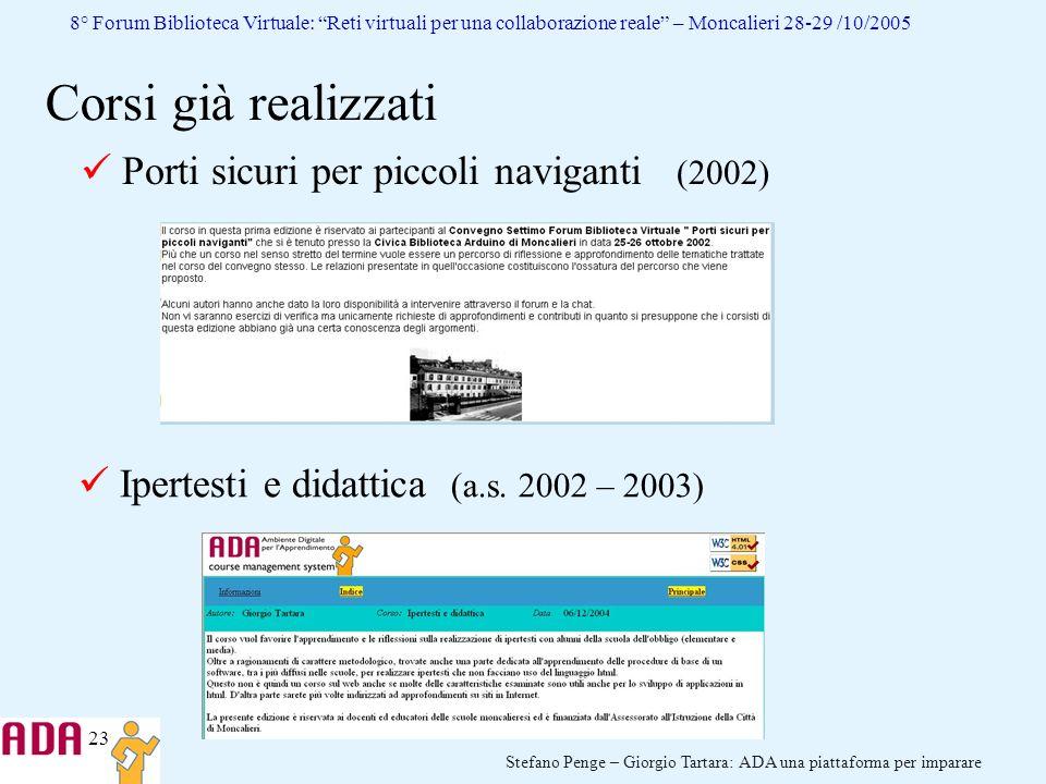 Corsi già realizzati Porti sicuri per piccoli naviganti (2002)