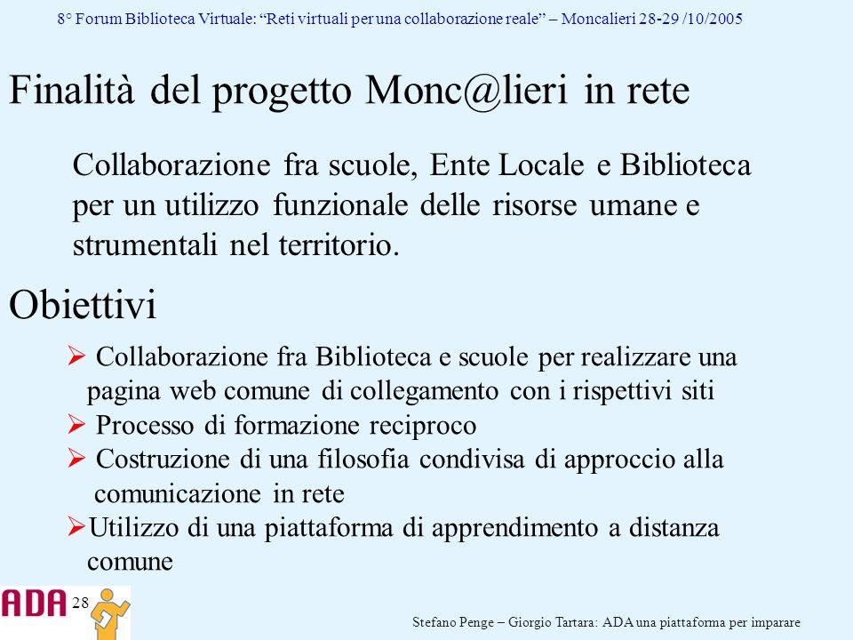 Finalità del progetto Monc@lieri in rete