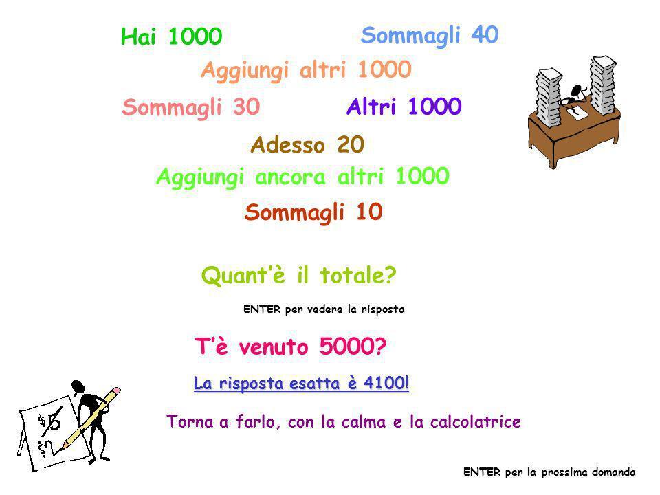 Hai 1000 Sommagli 40 Aggiungi altri 1000 Sommagli 30 Altri 1000