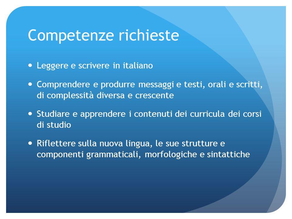 Competenze richieste Leggere e scrivere in italiano
