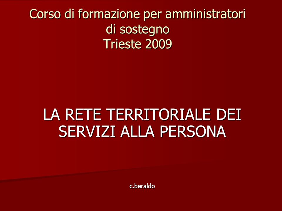 Corso di formazione per amministratori di sostegno Trieste 2009