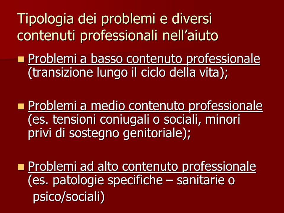 Tipologia dei problemi e diversi contenuti professionali nell'aiuto