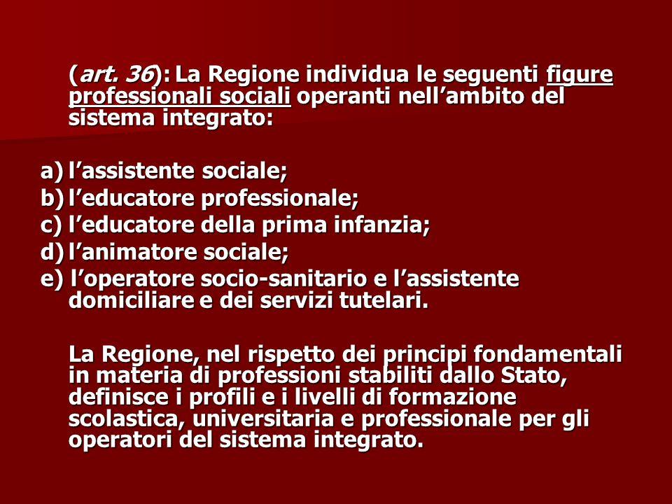 (art. 36): La Regione individua le seguenti figure professionali sociali operanti nell'ambito del sistema integrato: