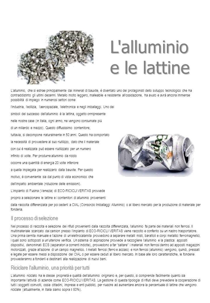 L alluminio e le lattine Il processo di selezione