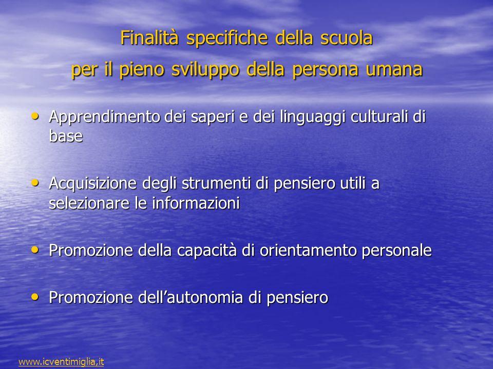 Finalità specifiche della scuola per il pieno sviluppo della persona umana