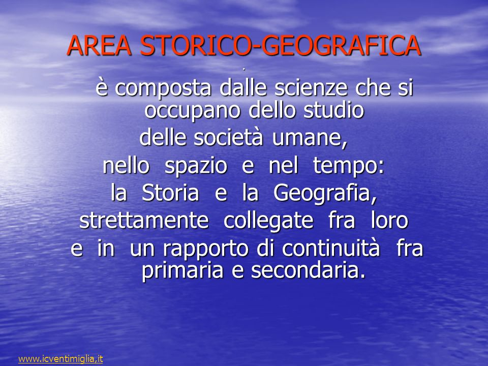 AREA STORICO-GEOGRAFICA .