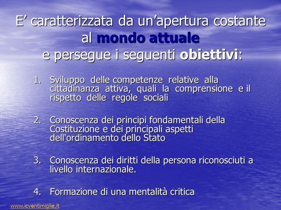 E' caratterizzata da un'apertura costante al mondo attuale e persegue i seguenti obiettivi:
