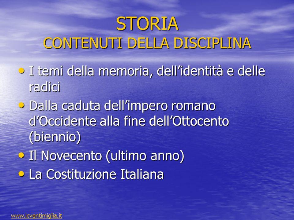 STORIA CONTENUTI DELLA DISCIPLINA