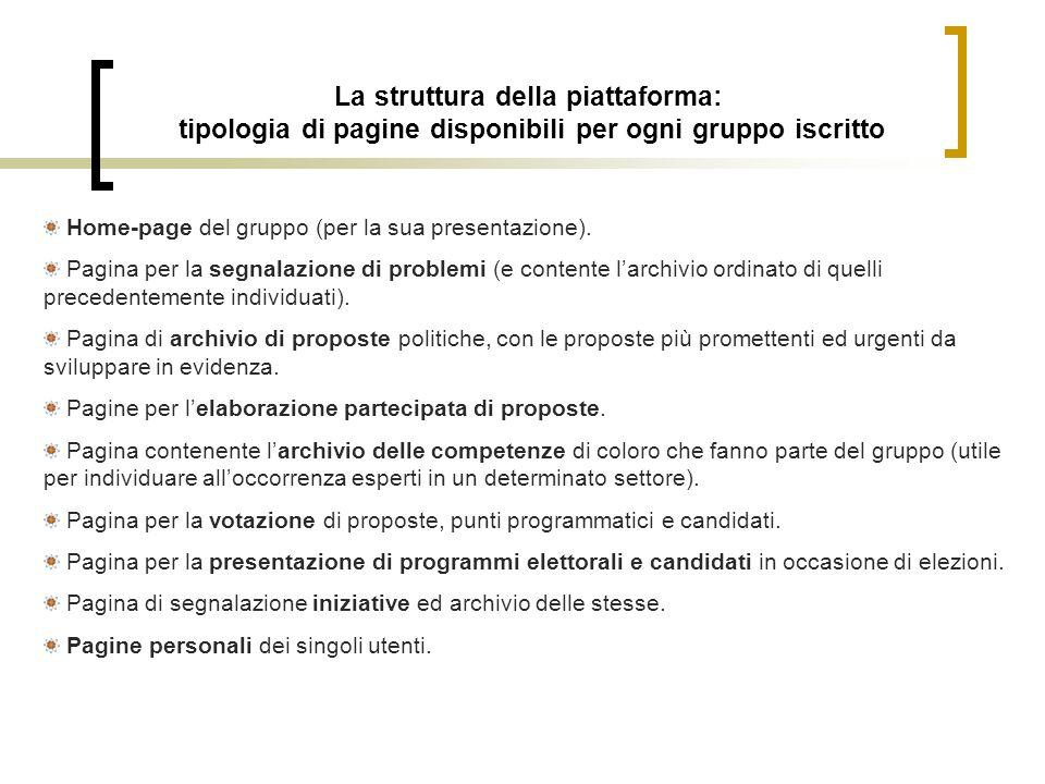 La struttura della piattaforma: tipologia di pagine disponibili per ogni gruppo iscritto