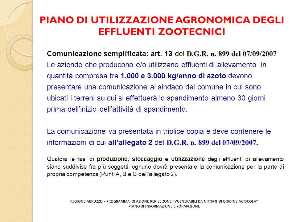 PIANO DI UTILIZZAZIONE AGRONOMICA DEGLI EFFLUENTI ZOOTECNICI